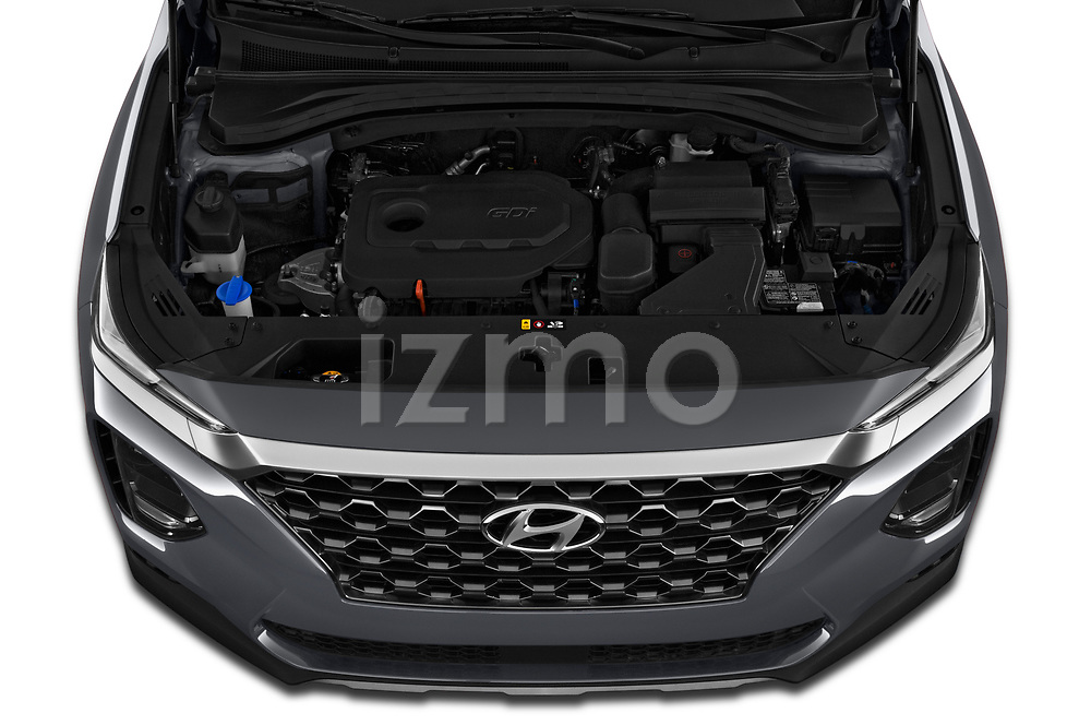 Car Stock 2020 Hyundai Santa-FE SE 5 Door SUV Engine  high angle detail view