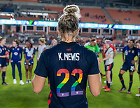 HOUSTON, TX - JUNE 13: Kristie Mewis #22 of the USWNT stands in the huddle after a game between Jamaica and USWNT at BBVA Stadium on June 13, 2021 in Houston, Texas.