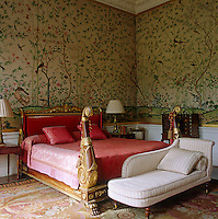 The vast bed which furnishes the Leicester Room was orginally from Devonshire House and the walls are covered in 1830s Chinese wallpaper