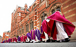 Pic shows: Funeral of  Cardinal Cormac Murphy-OíConnor, archbishop emeritus of Westminster<br /> <br /> At Westminster Cathedral.<br /> <br /> Procession on priests leave the funeral <br /> <br /> <br /> <br /> Pic by Gavin Rodgers/Pixel 8000 Ltd