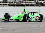 James Hinchcliffe (27) driver of the Team GoDaddy.com car in action during the IZOD Indycar Firestone 550 race at Texas Motor Speedway in Fort Worth,Texas. Justin Wilson (18) driver of the Sonny's BBQ car wins the Firestone 550 race...