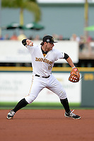 Bradenton Marauders third baseman Wyatt Mathisen (15) throws to first during a game against the Jupiter Hammerheads on April 17, 2015 at McKechnie Field in Bradenton, Florida.  Bradenton defeated Jupiter 11-6.  (Mike Janes/Four Seam Images)