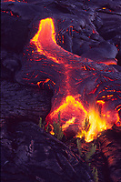 Small flow of lava and ferns, Hawaii Volcanoes National Park, Big Island, Hawaii, USA