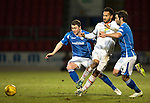 St Johnstone v Inverness Caley Thistle…09.03.16  SPFL McDiarmid Park, Perth<br />Jordan Roberts kis crowded out by Tam Scobbie and Simon Lappin<br />Picture by Graeme Hart.<br />Copyright Perthshire Picture Agency<br />Tel: 01738 623350  Mobile: 07990 594431