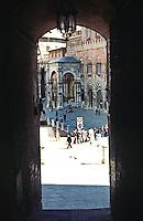Siena:  Entrance to Piazza Del Campo.  Photo '83.