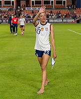 HOUSTON, TX - JUNE 10: Christen Press #23 of the USWNT waves to the crowd after a game between Portugal and USWNT at BBVA Stadium on June 10, 2021 in Houston, Texas.