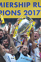 Exeter Chiefs celebrate after winning the Premiership Rugby Final at Twickenham Stadium on Saturday 27th May 2017 (Photo by Rob Munro)