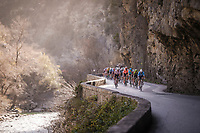 leading group coming through the gorge<br /> <br /> Stage 7: Nice to Col de Turini (181km)<br /> 77th Paris - Nice 2019 (2.UWT)<br /> <br /> ©kramon