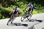 Marc Hirschi (SUI) Team Sunweb and Julian Alaphilippe (FRA)  Deceuninck-Quick Step part of the breakaway during Stage 4 of Criterium du Dauphine 2020, running 157km from Ugine to Megeve, France. 15th August 2020.<br /> Picture: ASO/Alex Broadway | Cyclefile<br /> All photos usage must carry mandatory copyright credit (© Cyclefile | ASO/Alex Broadway)