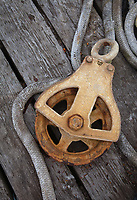 Rope and Pully Wheel, also called Sheave, Port of Astoria, Oregon