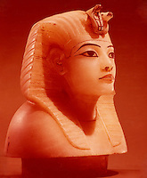 Egypt:  Stopper from Canopic Chest--alabaster.  Treasures of Tutankhamun,  Cairo Museum.  MMA 1976.