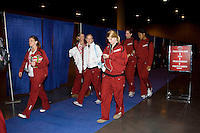 Omaha, NE - DECEMBER 20:  Libero Gabi Ailes #9, outside hitter Erin Waller #12, setter Joanna Evans #3, defensive specialist Katherine Knox #6, middle blocker Stephanie Browne #15, and middle blocker Janet Okogbaa #2 of the Stanford Cardinal during Stanford's 20-25, 24-26, 23-25 loss against the Penn State Nittany Lions in the 2008 NCAA Division I Women's Volleyball Final Four Championship match on December 20, 2008 at the Qwest Center in Omaha, Nebraska.