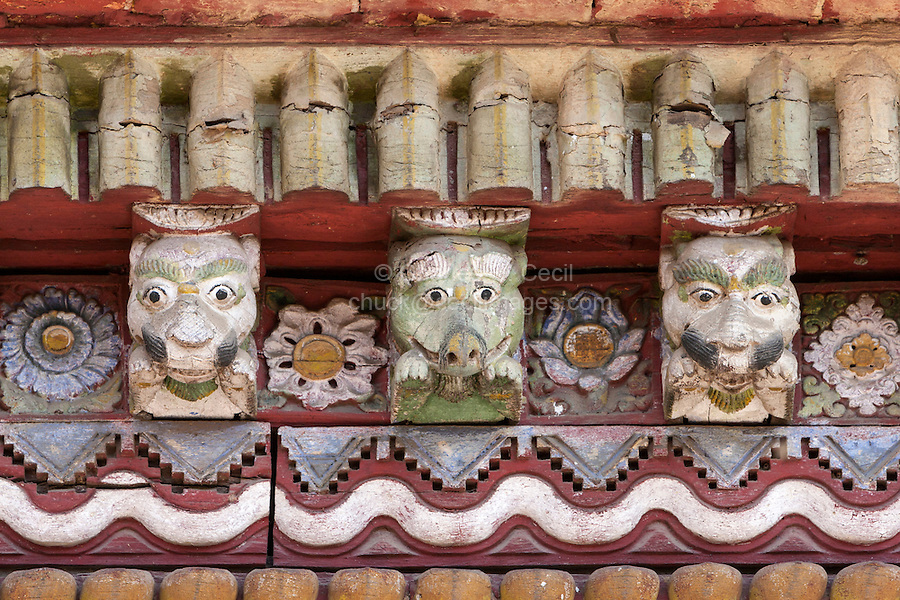 Nepal, Changu Narayan.  Decorative Details in Temple Roof, Hindu Deities and Demons.