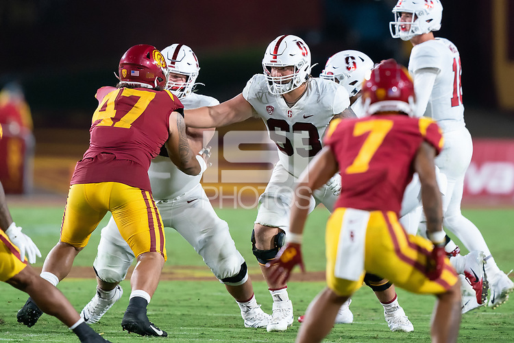 LOS ANGELES, CA - SEPTEMBER 11: Barrett Miller during a game between University of Southern California and Stanford Football at Los Angeles Memorial Coliseum on September 11, 2021 in Los Angeles, California.