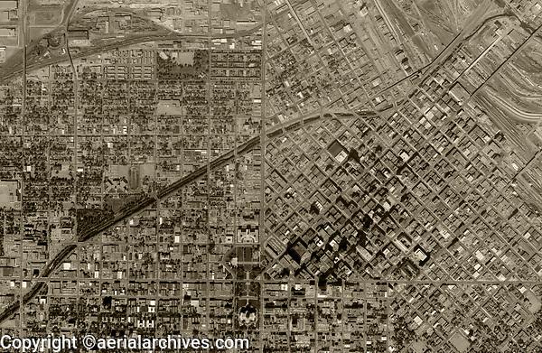 historical aerial photograph Denver, Colorado, 1963