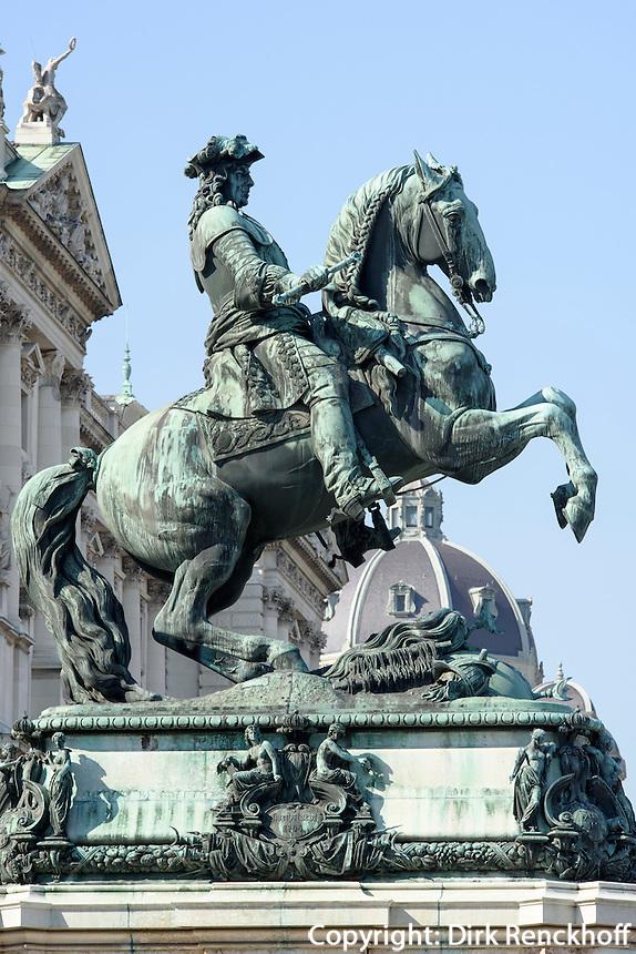 Denkmal Prinz Eugen vor der Nationalbibliothek in  Neue Hofburg, Wien, Österreich  UNESCO-Weltkulturerbe<br /> monument prince Eugen, Vienna, Austria, world heritage