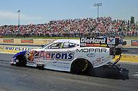 May 19, 2012; Topeka, KS, USA: NHRA funny car driver Matt Hagan during qualifying for the Summer Nationals at Heartland Park Topeka. Mandatory Credit: Mark J. Rebilas-