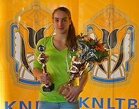 Rotterdam, The Netherlands, 07.03.2014. NOJK ,National Indoor Juniors Championships of 2014, 12and 16 years, Winner girls 16 years Isolde de Jong (NED)<br /> Photo:Tennisimages/Henk Koster