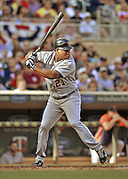 29 September 2012: Detroit Tigers designated hitter Delmon Young in action against the Minnesota Twins at Target Field in Minneapolis, MN. The Tigers defeated the Twins 6-4 in the second game of their 3-game series. Mandatory Credit: Ed Wolfstein Photo