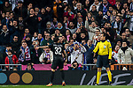 Dani Alves of Paris Saint Germain reacts to the Real Madrid fans during the UEFA Champions League 2017-18 Round of 16 (1st leg) match between Real Madrid vs Paris Saint Germain at Estadio Santiago Bernabeu on February 14 2018 in Madrid, Spain. Photo by Diego Souto / Power Sport Images