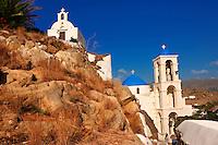 Greek Orthodox Chapels and Church on Chora hill (Hora), Ios, Cyclades Islands, Greece.
