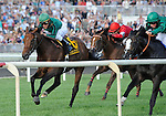 10 August 21: Debussy (no. 2), ridden by William Buick and trained by John Gosden, wins the grade 1 Arlington Million Stakes for three year olds and upward at Arlington Park in Arlington Heights, Illinois.