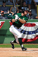 Brett Thomas #8 of the Clinton LumberKings swings against the Kane County Cougars at Ashford University Field on July 6, 2014 in Clinton, Iowa. The LumberKings won 1-0.   (Dennis Hubbard/Four Seam Images)