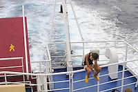 - ferry of Toremar company in navigation....- traghetto della compagnia Toremar in navigazione
