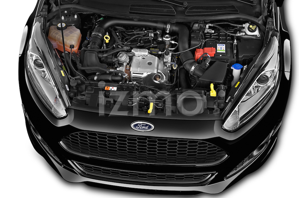 Car Stock 2014 Ford FIESTA Sport 3 Door Hatchback 2WD Engine high angle detail view