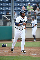 Onil Pena (22) of the Everett AquaSox runs to first base during a game against the Boise Hawks at Everett Memorial Stadium on July 20, 2017 in Everett, Washington. Everett defeated Boise, 13-11. (Larry Goren/Four Seam Images)