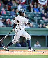 Outfielder Kelvin De Leon (35) of the Charleston RiverDogs in a game against the Greenville Drive on Opening Day, Friday, April 5, 2013, at Fluor Field at the West End in Greenville, South Carolina. (Tom Priddy/Four Seam Images)