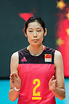 Wing spiker Ting Zhu of China during the FIVB Volleyball World Grand Prix match between China vs Japan on July 21, 2017 in Hong Kong, China. Photo by Marcio Rodrigo Machado / Power Sport Images