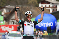 20th April 2021; Cycling Tour of the Alps Stage 2, Innsbruck, Feichten Im Kaunertal Austria; Simon Yates Team BikeExchange celebrates his stage win at the finish line