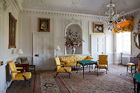 A light and airy family parlour, its walls painted in a crisp white, with warm yellow furnishings