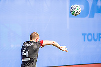 LAKE BUENA VISTA, FL - JULY 13: Russell Canouse #4 of DC United throws the ball in during a game between D.C. United and Toronto FC at Wide World of Sports on July 13, 2020 in Lake Buena Vista, Florida.