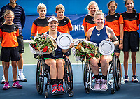 Amstelveen, Netherlands, 22 Augustus, 2020, National Tennis Center, NTC, NKR, National  Wheelchair Tennis Championships, Woman's doubles final  final : Winners Marjolein Buis (NED) (L) and Michaela Spaanstra (NED)  with the trophy <br /> Photo: Henk Koster/tennisimages.com