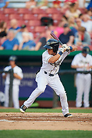 Kane County Cougars center fielder Gabriel Maciel (5) at bat during a game against the South Bend Cubs on July 23, 2018 at Northwestern Medicine Field in Geneva, Illinois.  Kane County defeated South Bend 8-5.  (Mike Janes/Four Seam Images)