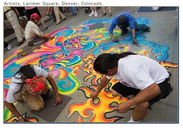 Street artists create with chalk on Larimer Square. From John's 5th book.<br />