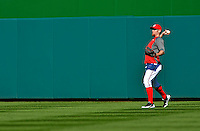 11 October 2012: Washington Nationals pitcher Stephen Strasburg tosses in the outfield prior to Postseason Playoff Game 4 of the National League Divisional Series against the St. Louis Cardinals at Nationals Park in Washington, DC. Strasburg was shut down after a pre-determined number of regular season innings in order to aid in his rehabilitation from Tommy John surgery. The Nationals defeated the Cardinals 2-1 on a 9th inning, walk-off solo home run by Jayson Werth, tying the Series at 2 games apiece. Mandatory Credit: Ed Wolfstein Photo