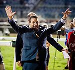 DUBAI, UNITED ARAB EMIRATES - MARCH 25: Assistant trainer of Arrogate Jimmy Barnes, celebrates after Arrogate wins the Dubai World Cup at Meydan Racecourse during Dubai World Cup Day on March 25, 2017 in Dubai, United Arab Emirates. (Photo by Douglas DeFelice/Eclipse Sportswire/Getty Images)