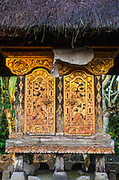 Bali, Indonesia.  Doors to the Shrine to an  Ancestor inside a Hindu Balinese Village Family Compound.