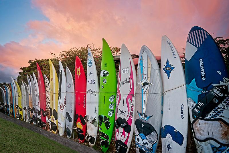 Surfboard fence. Paia, Maui, Hawaii.