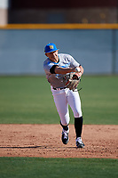 Edward Gonzalez during the Under Armour All-America Pre-Season Tournament, powered by Baseball Factory, on January 19, 2019 at Sloan Park in Mesa, Arizona.  Edward Gonzalez is a shortstop from Yabucoa, Puerto Rico who attends International Baseball Academy and is committed to Florida International University.  (Mike Janes/Four Seam Images)
