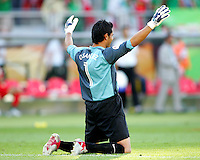 Mexico goalkeeper Oswaldo Sanchez after the game. Mexico defeated Iran 3-1 during a World Cup Group D match at Franken-Stadion, Nuremberg, Germany on Sunday June 11, 2006.
