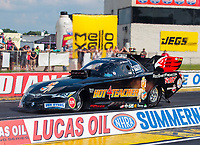 Jul 18, 2020; Clermont, Indiana, USA; NHRA funny car driver Alex Miladinovich during qualifying for the Summernationals at Lucas Oil Raceway. Mandatory Credit: Mark J. Rebilas-USA TODAY Sports