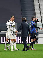 Calcio, Serie A: Juventus - Atalanta, Turin, Allianz Stadium, December 16, 2020.<br /> Juventus' coach Andrea Pirlo (r) greets Cristiano Ronaldo (l) at the end of the Italian Serie A football match between Juventus and Atalanta at the Allianz stadium in Turin,  December 16, 2020.<br /> The game ended in a 2-2 draw.<br /> UPDATE IMAGES PRESS/Isabella Bonotto