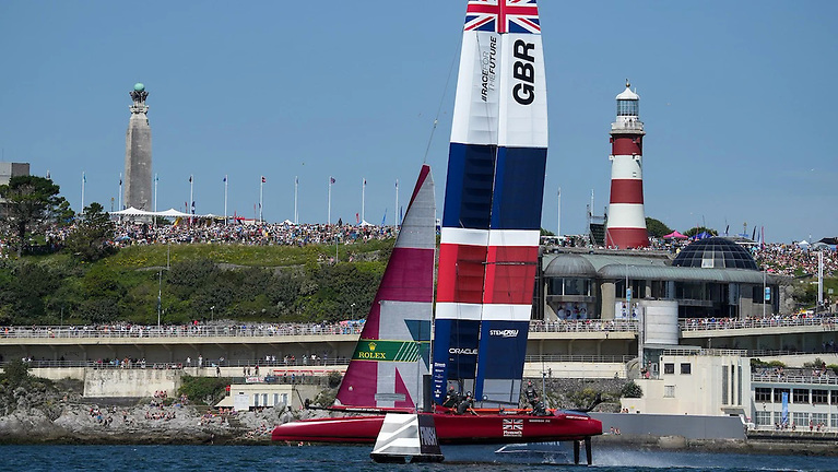 The home crowd on Plymouth Hoe also had something to celebrate, as the British team secured a podium finish to open the day - before doing even better in race 4 to claim victory on its home waters