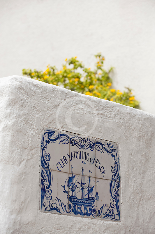 Uruguay, Colonia del Sacramento, Sailing club sign, whitewashed wall