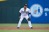Charlotte Knights first baseman Yermin Mercedes (27) on defense against the Durham Bulls at BB&T BallPark on July 31, 2019 in Charlotte, North Carolina. The Knights defeated the Bulls 9-6. (Brian Westerholt/Four Seam Images)