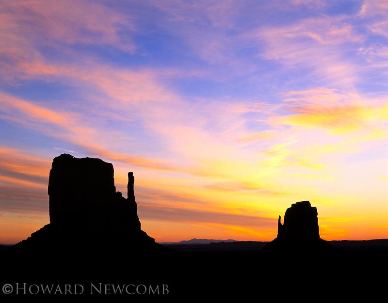 Blast of color just before sunrise in Monument Valley, Utah.